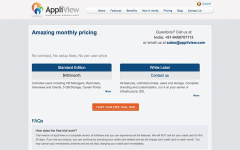 Screenshot of Pricing Page appliview.com - Pricing on software for recruitment and online recruitment tool - captured July 26, 2016