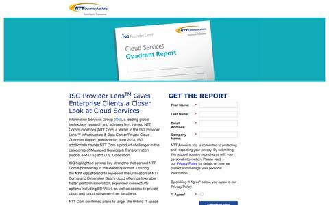Screenshot of Landing Page ntt.com - NTT Communications - ISG Cloud Services Quadrant Report - captured Sept. 19, 2018