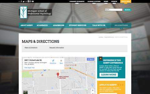 Screenshot of Maps & Directions Page mispp.edu - Maps & Directions to MiSPP The Michigan School of Professional Psychology (MiSPP) - captured Oct. 18, 2017
