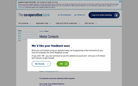 Screenshot of Press Page co-operativebank.co.uk - Media Contacts | The Co-operative Bank - captured Aug. 20, 2016