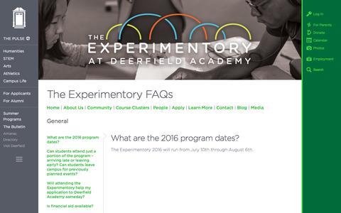 Screenshot of FAQ Page deerfield.edu - The Experimentory FAQs   Deerfield Academy - captured June 21, 2016