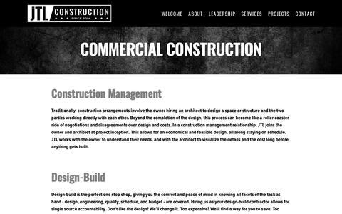 Screenshot of Services Page builtbyjtl.com - Commercial Construction — JTL Construction - Cleveland Construction Management Company - captured Oct. 20, 2018
