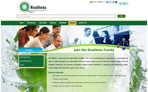 Screenshot of Jobs Page kvaliteta.in - Careers | Kvaliteta Systems - captured Oct. 6, 2014