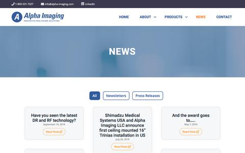 Screenshot of Press Page alpha-imaging.com - News – Alpha Imaging - captured Jan. 15, 2020