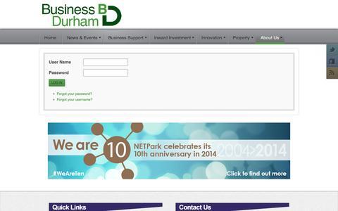 Screenshot of Login Page businessdurham.co.uk - Login - Business Durham | Business Support in County Durham - captured Sept. 30, 2014