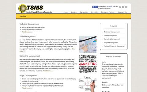 Screenshot of Services Page tsmsinc.info - Services | TSMS Inc. - captured Oct. 6, 2014