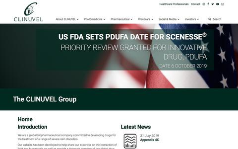 Screenshot of Home Page clinuvel.com - Welcome to CLINUVEL – CLINUVEL Pharmaceuticals - captured Aug. 17, 2019