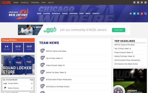 Screenshot of Press Page theaudl.com - Wildfire News | AUDL - captured July 17, 2018