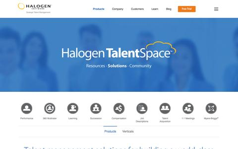 Screenshot of Products Page halogensoftware.com - Talent Management Software | Online Talent Management System - captured Sept. 22, 2014