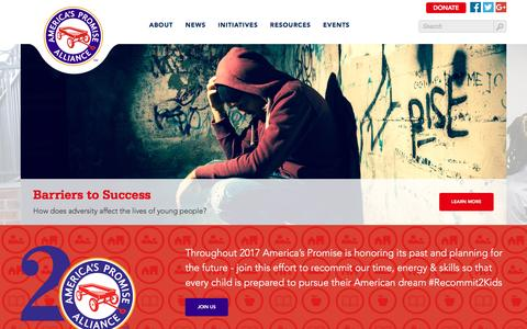Screenshot of Home Page americaspromise.org - America's Promise - captured May 29, 2017