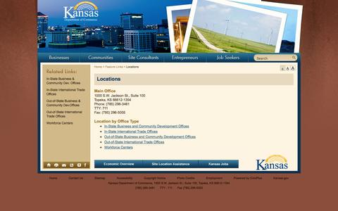 Screenshot of Locations Page kansascommerce.com - Kansas Department of Commerce - Official Website - Locations - captured Oct. 6, 2014