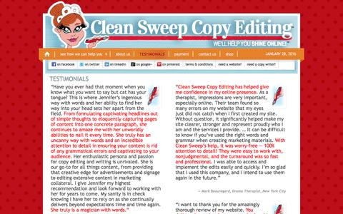 Screenshot of Testimonials Page cleansweepcopy.com - Clean Sweep Copy Editing - Testimonials - captured Jan. 28, 2016