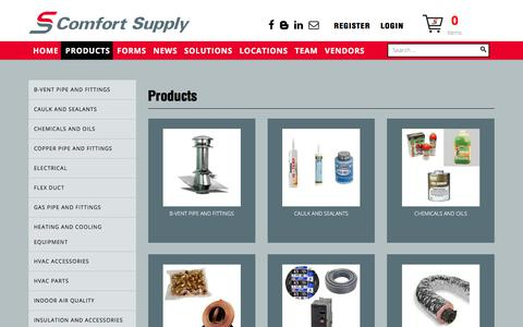 Screenshot of Products Page comforttn.com - Products - captured Aug. 18, 2017
