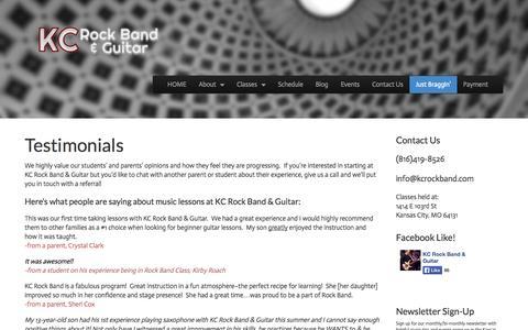 Screenshot of Testimonials Page kcrockband.com - Reviews of KC Rock Band & Guitar | KC Rock Band & Guitar - captured Oct. 6, 2014