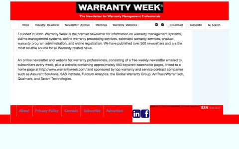 Screenshot of About Page warrantyweek.com - About Warranty Week - captured Dec. 12, 2016