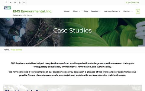 Screenshot of Case Studies Page emsenv.com - Case Studies | EMS Environmental, Inc. - captured Sept. 26, 2018