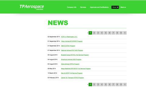 Screenshot of Press Page tpaerospace.com - News - captured Sept. 30, 2014