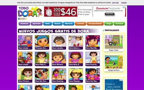Screenshot of Home Page tododora.com - Todo Dora — Jugar a Juegos de Dora la Exploradora y Diego Gratis. Minijuegos de Vestir, Puzzles y Aventuras - captured Sept. 19, 2014
