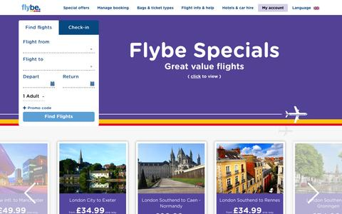 Screenshot of Home Page flybe.com - Cheap Flights & Low Cost Flight Tickets | Flybe UK - captured Aug. 3, 2015