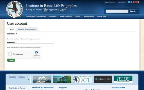 Screenshot of Login Page iblp.org - User account | Institute in Basic Life Principles - captured July 18, 2018