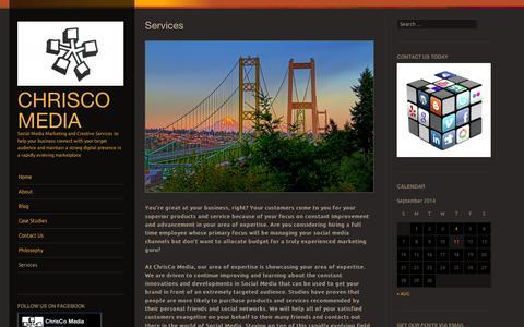 Screenshot of Services Page wordpress.com - Services | ChrisCo Media - captured Sept. 12, 2014