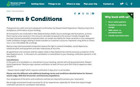 Screenshot of Terms Page stewartislandexperience.co.nz - Stewart Island Experience NZ: Terms and conditions Rakiura - captured Oct. 31, 2018