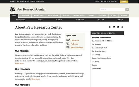 Screenshot of About Page pewresearch.org - About Pew Research Center | Pew Research Center - captured March 21, 2019