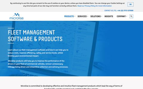 Screenshot of Products Page microlise.com - Fleet Management Software | Fleet Management Products - captured Sept. 20, 2018