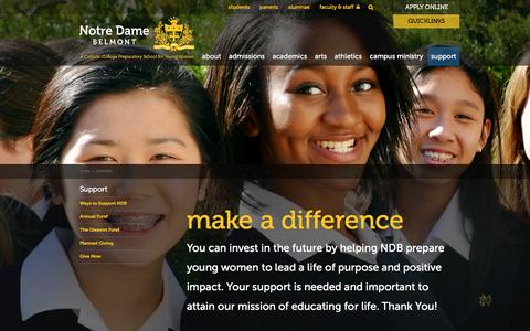 Screenshot of Support Page ndhsb.org - Notre Dame High School Belmont:  Support - captured Feb. 15, 2016