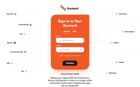 Screenshot of Login Page kontent.ai - Sign in | Kentico Kontent - captured Feb. 22, 2020