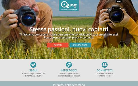 Screenshot of Home Page quag.com - Quag | the interest network - captured July 21, 2015