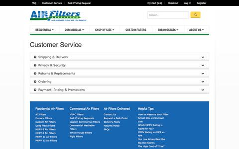 Screenshot of Support Page airfiltersdelivered.com - Customer Service - captured Sept. 25, 2014