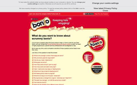 Screenshot of FAQ Page purina.co.uk - FAQs   Dog Treats   Bonio - captured May 24, 2016