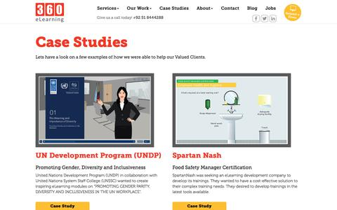 Screenshot of Case Studies Page 360elearning.com - 360 eLearning | eLearning designers and developers - engaging and interactive eLearning courses - captured Sept. 20, 2018