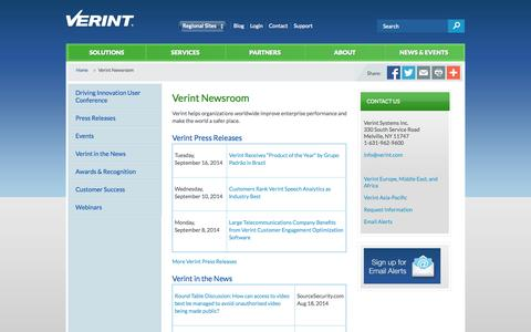 Screenshot of Press Page verint.com - News & Events - captured Sept. 17, 2014