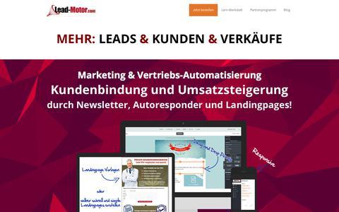 Screenshot of Home Page lead-motor.com - Marketing & Vertriebs-Automatisierung - Der Lead-Motor — Leadgenerierung - captured Sept. 22, 2018