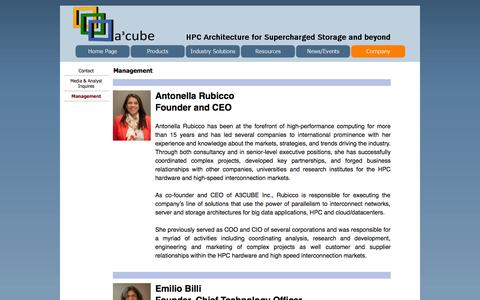 Screenshot of Team Page a3cube-inc.com - Management - A3CUBE INC : Breaking through the computer I/O barrier - captured Sept. 30, 2014