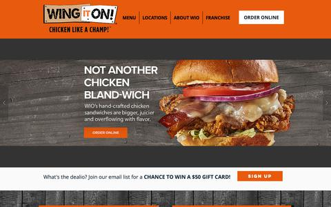 Screenshot of Home Page wingiton.com - Wing It On! - Chicken Like a Champ! - captured March 28, 2019