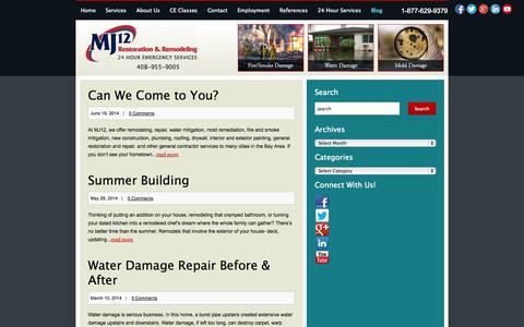 Screenshot of Blog mj12cares.com - MJ12 Water Mold & Fire Damage Restoration San Jose   MJ12 Restoration and Remodeling - captured Oct. 3, 2014
