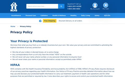 Screenshot of Privacy Page hdis.com - Privacy Policy - captured June 27, 2018