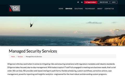 Screenshot of Services Page rsisecurity.com - Managed Security Services - RSI Security - captured Feb. 26, 2017