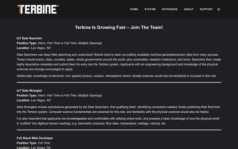 Screenshot of Jobs Page terbine.com - Terbine |   Careers - captured Oct. 20, 2018