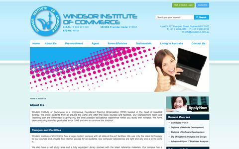 Screenshot of About Page windsor-ic.com.au - Windsor Institute of Commerce - About Us - captured Oct. 26, 2014