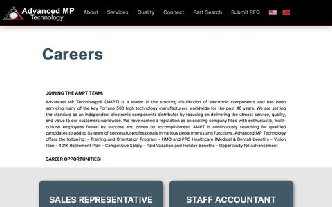 Screenshot of Jobs Page advancedmp.com - Careers | Advanced MP Technology - captured Feb. 14, 2019