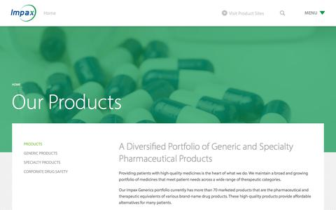 Screenshot of Products Page impaxlabs.com - Products - Impax Laboratories, Inc. - captured Oct. 8, 2017