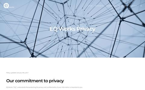 Screenshot of Privacy Page eqworks.com - EQ Works Privacy Policy - EQ Works - captured Feb. 21, 2018