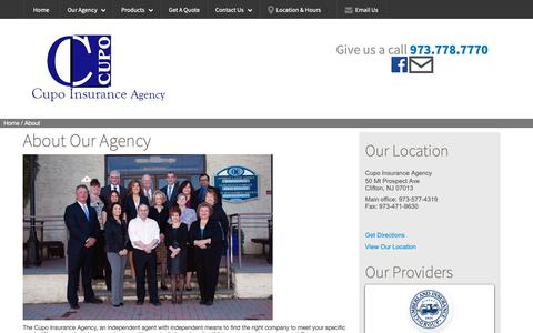 Screenshot of About Page cupo.com - About Us - Cupo Insurance Agency - captured Sept. 30, 2018