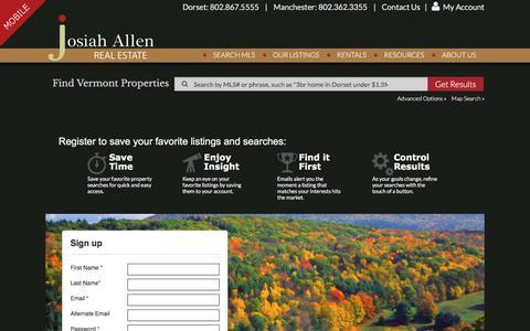 Screenshot of Signup Page josiahallen.com - Josiah Allen Real Estate - captured Oct. 16, 2017