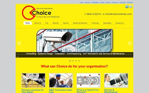 Screenshot of Home Page choicefireandsecurity.co.uk - Choice Fire & Security Solutions - captured Jan. 19, 2015