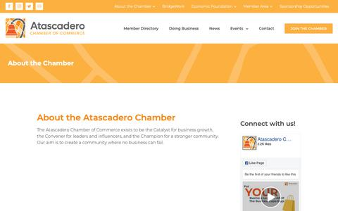 Screenshot of About Page atascaderochamber.org - About the Chamber - Atascadero Chamber of Commerce | Empowering OUR Business Community - captured Oct. 4, 2018
